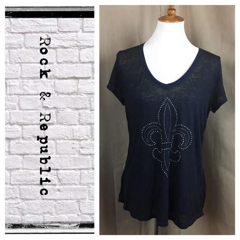 Rock Republic Kaos Tshirt Original rock republic tunic style embellished t shirt navy blue on tradesy