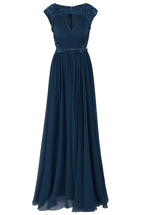elie saab chiffon beaded cap sleeve gown in blue lyst
