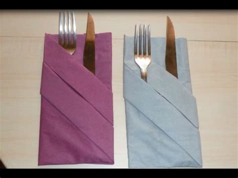 How To Fold A Paper Napkin With Silverware - napkin folding silverware pouch paper towel folding