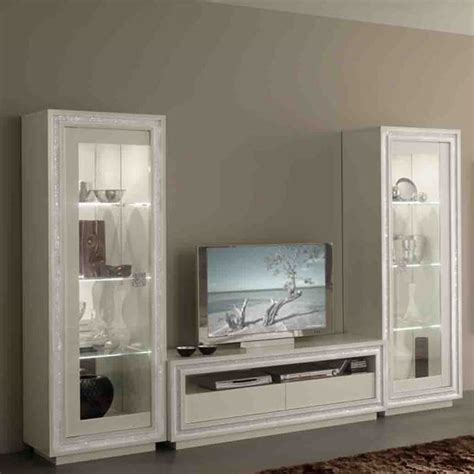 White Gloss Living Room Furniture Sets Gloria Living Room Set In White Gloss And Crystals With Led