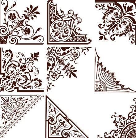 pattern frame corner free set of vintage floral corner ornaments vector 01