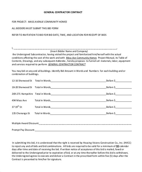 Sle Contractor Contract Form 7 Free Documents In Pdf Generic Construction Contract Template