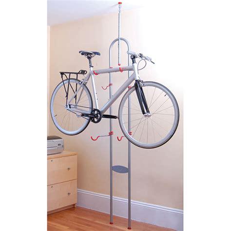 bike rack ceiling floor to ceiling tension two bike rack in garage bike racks
