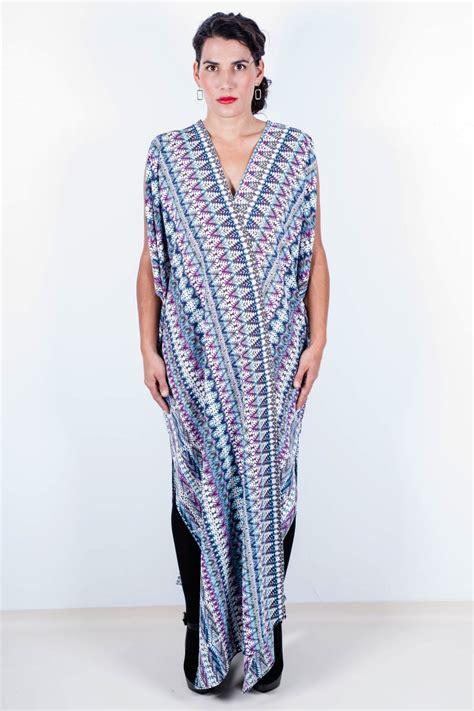 Caftan Dress by Quot Snowflake Quot Cocoon Caftan Dress Blue Multi Mona Lucero
