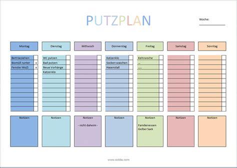 Wochenplan Haushalt Familie 4630 by Putzplan Vorlage F 252 R Singles Paare Familie Wg