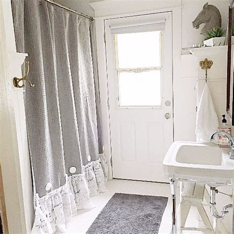 grey ruffle shower curtain handmade shabby chic bathroom