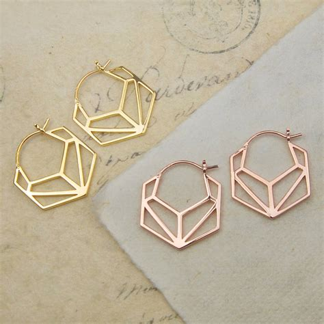 Geometric Hoop Earrings geometric hexagonal gold hoop earrings by otis jaxon