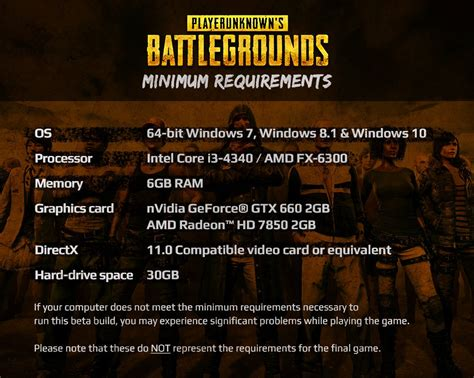 pubg system requirements system requirements playerunknown s battlegrounds