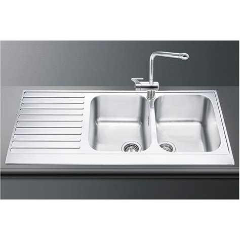 Smeg Kitchen Sinks Smeg Lpd116s Kitchen Sink 2 Bowls Piano Design Polished Stainless S