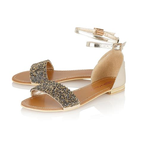 flat embellished sandals buy dolcis gem embellished flat sandal gold