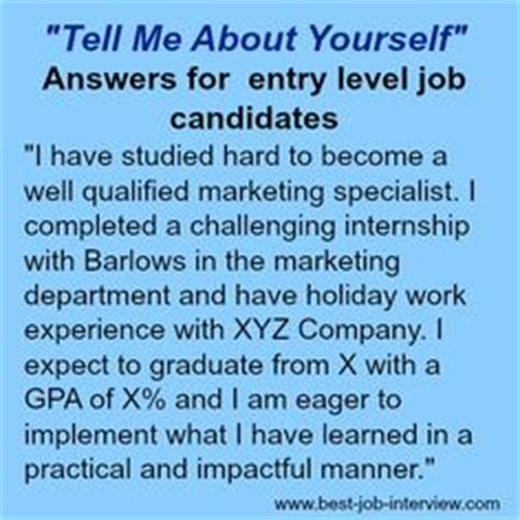 Resume Tell Me About Yourself Exles Tell Me About Yourself Quot Sle Answers