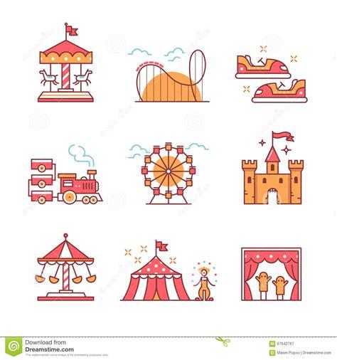 theme line pulsa xl theme amusement park sings set stock vector image 67642767