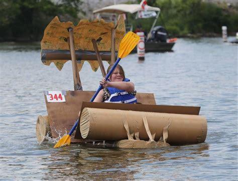 cardboard boat paddles creative cardboard boats sail and sink in fox lake