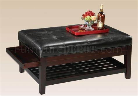 ottoman with pull out tray wood bycast leather ottoman w pull out trays