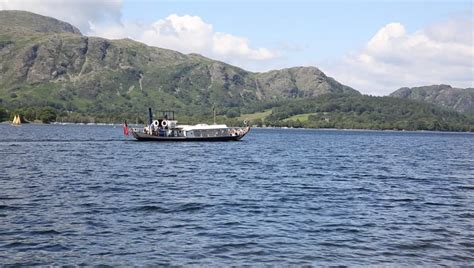 steam boat on coniston pan of coniston water and the southern lake district