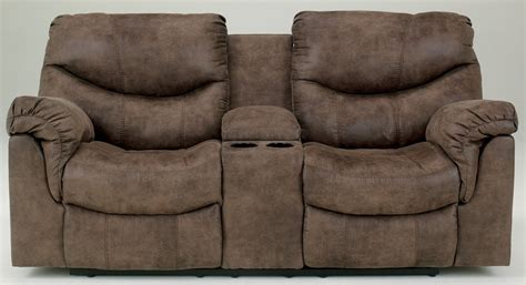 reclining sofa with console alzena reclining loveseat with console from