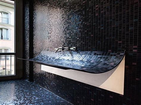 Bathroom Remodeling Black Mozaic Glass Tile For Black Tile Bathroom Ideas