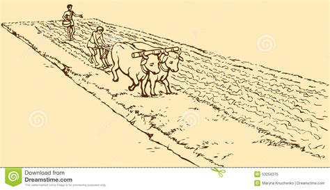 vector drawing primitive agriculture peasants treated