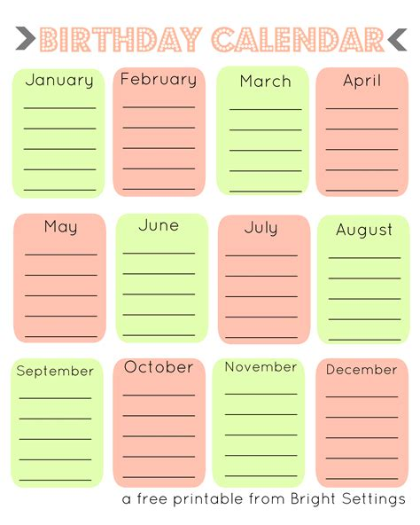 birthday reminder calendar template printable birthday calendar