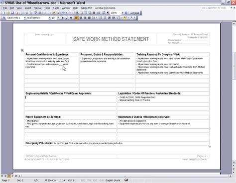 safe work method statement template free 28 images