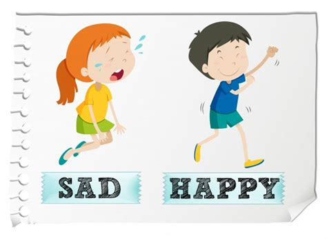 imagenes de happy and sad opposite adjectives with sad and happy vector free download