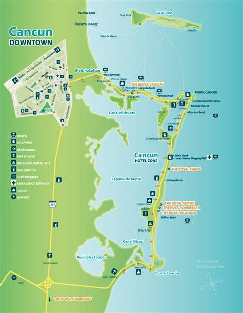 maps cancun cancun and riviera home of five royal resorts royal