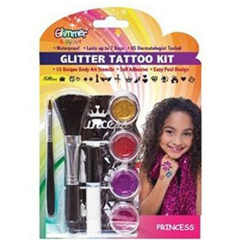 tattoo kit walmart glimmer art glitter tattoo kit princess walmart com