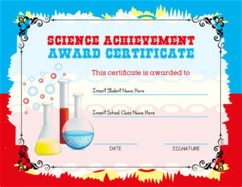 science certificate template science achievement award certificates professional