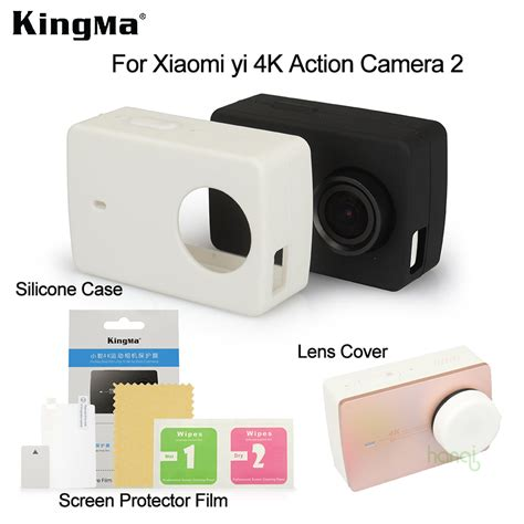 Lens Protection For Xiaomi Yi A223 Black 1 new kingma for xiaomi yi 4k screen protector xiaomi yi 4k ii silicone lens cover for