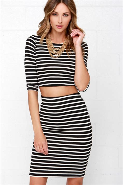 Two Pieces Design Stripe Style Dress Black chic black and white dress two dress striped dress 44 00