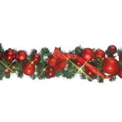 red pre lit decorated garland with 60 led lights 1 8m peeks