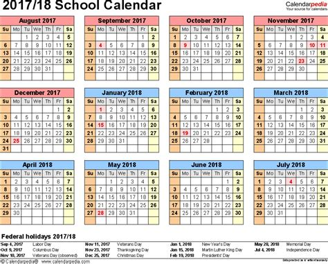 school calendars 2017 2018 as free printable word templates