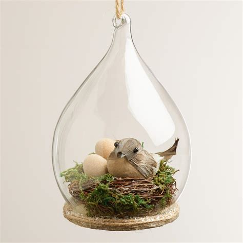 bird nest glass cloche ornament world market