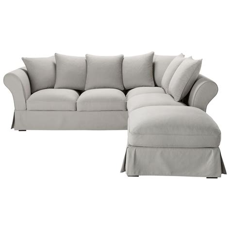 Grey Corner Sofa Bed 6 Seater Cotton Corner Sofa Bed In Light Grey Roma Maisons Du Monde