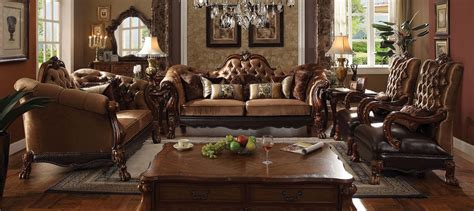 gold living room furniture acme 4 piece wood trim golden brown velvet living room set
