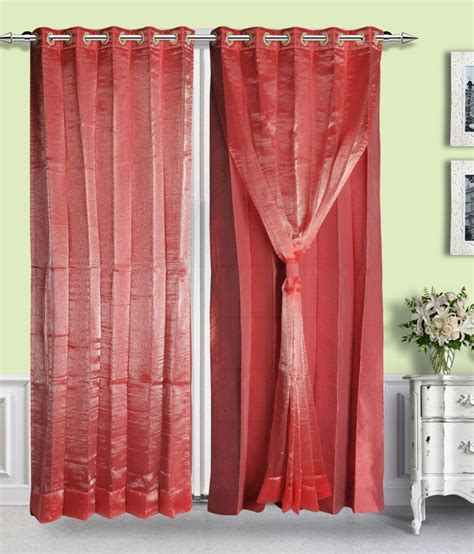 Pink Linen Curtains Just Linen Single Door Eyelet Curtain Solid Pink Buy Just Linen Single Door Eyelet Curtain