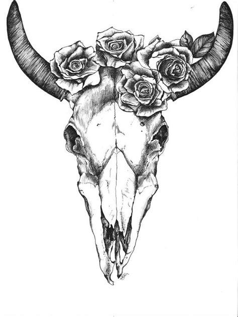 bull skull with roses