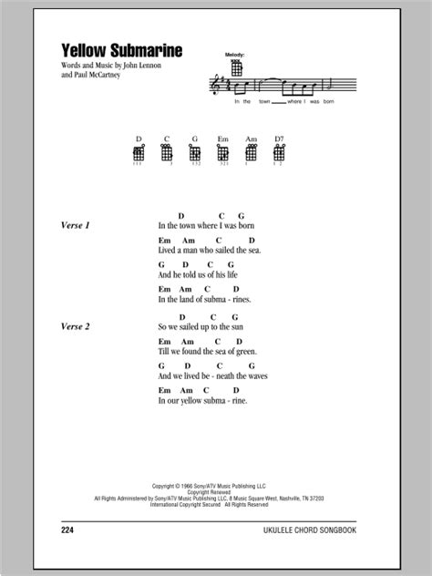 strumming pattern for yellow submarine yellow submarine sheet music by the beatles ukulele with