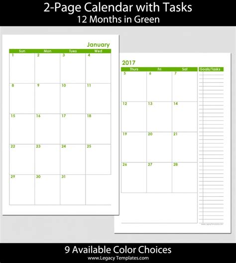 printable calendar 2015 5 5 x 8 5 2015 12 month 2 page calendar half size legacy templates