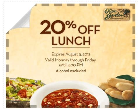 Olive Garden Birthday Coupon by Olive Garden Coupon 20 Lunch For Savings