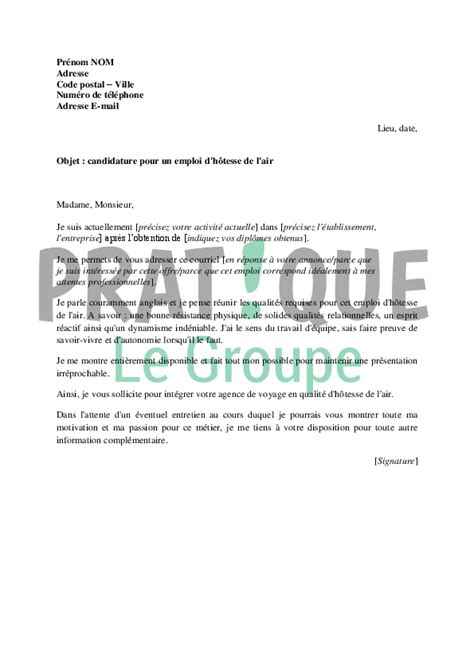 lettre de motivation pour devenir h 244 tesse de l air