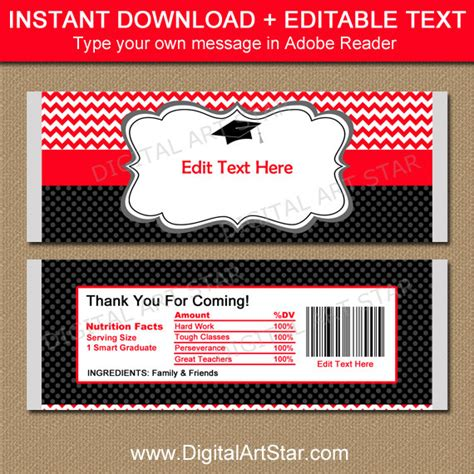 graduation candy wrapper template chocolate bar wrappers