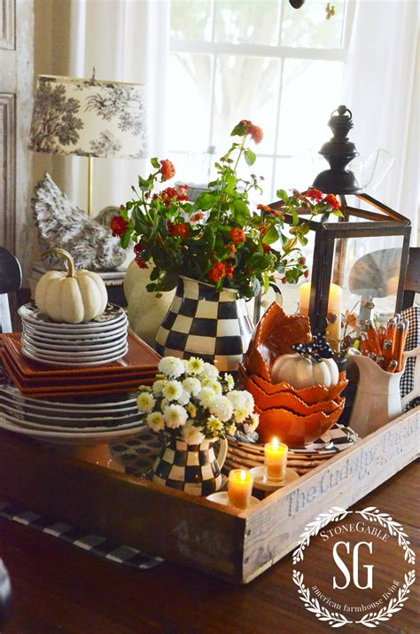 table centerpieces fall kitchen table centerpiece stonegable