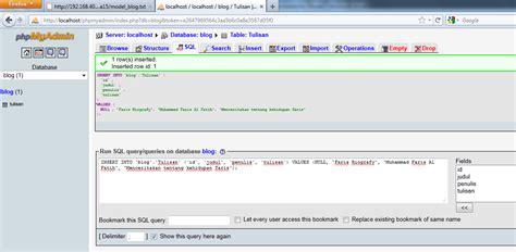 membuat database codeigniter jika telah berhasil akan sepertigambar dibawah