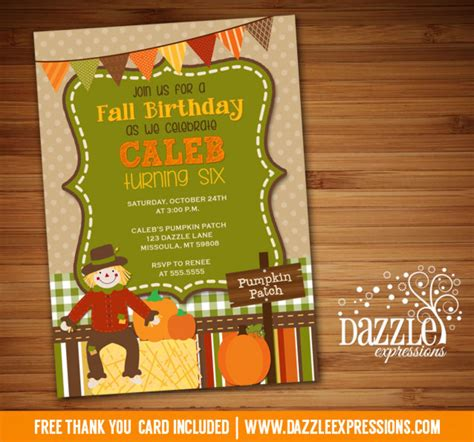 Printable Kids Fall Birthday Invitation Pumpkin Patch Hay Ride Free Thank You Card Fall Festival Invitation Templates