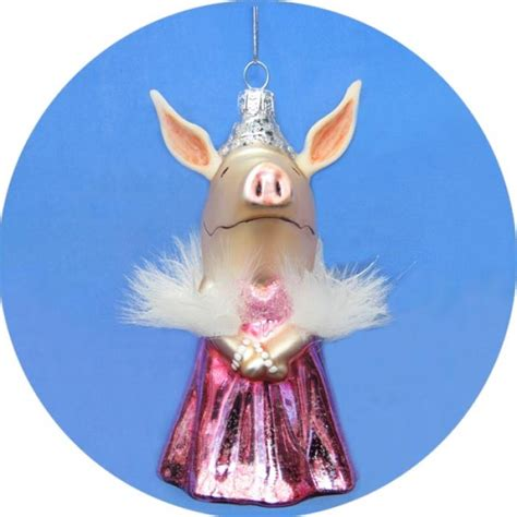 olivia the pig pink dress ornament christmas and city