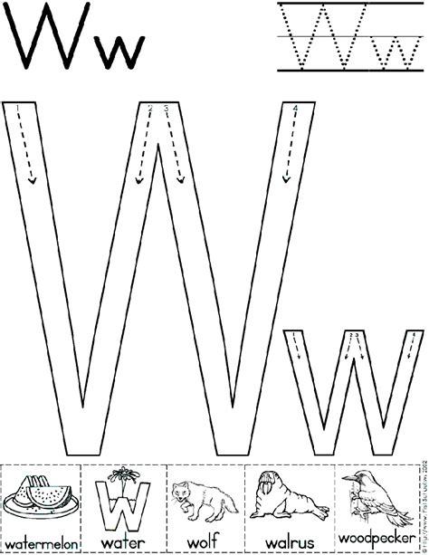 printable traceable fonts alphabet letter w worksheet standard block font