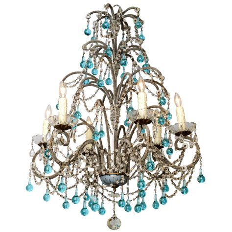 Italian Beaded Arm Six Light Chandelier With Turquoise Turquoise Chandeliers