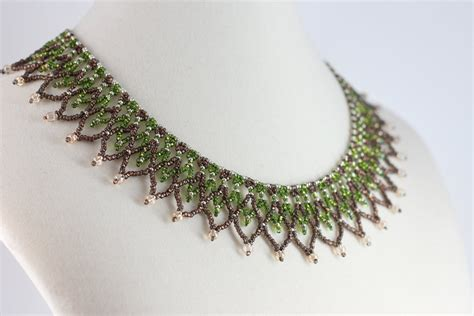 bead netting necklace green necklace netted collar necklace beaded jewelry