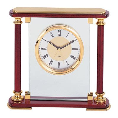 corporate desk accessories mantle clock glass and rosewood gf5417 corporate desk